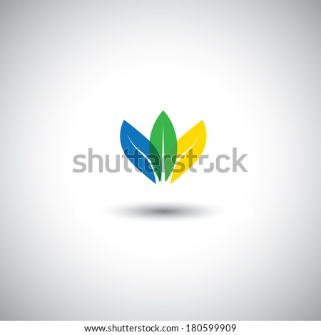 beautiful colorful leaf icons representing conservation - vector graphic. This illustration also represents petals of flower arranged together and in blue, green & yellow colors, lotus flower - stock vector