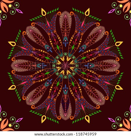 Beautiful colorful pattern on dark background. Seamless - stock vector
