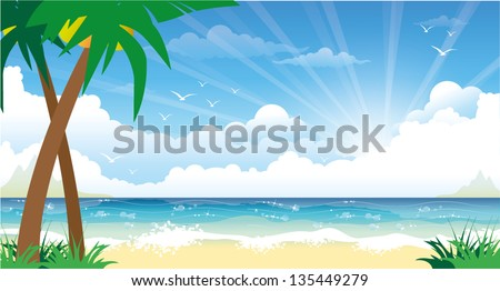 Beautiful colorful summer seascape - stock vector