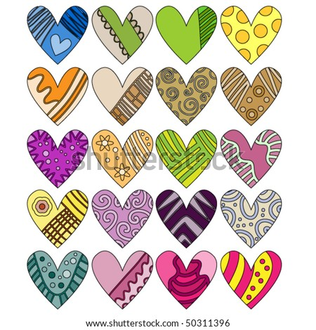 Beautiful, colorful vector heart collection - stock vector