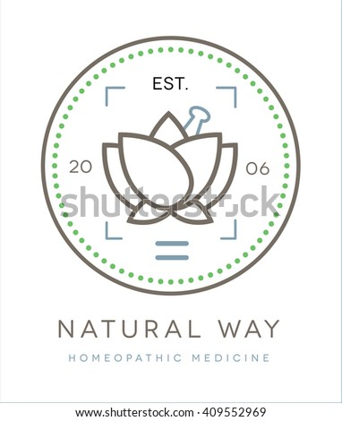 Beautiful conceptual vector logo / symbol of a lotus flower with a pestle on top  - stock vector