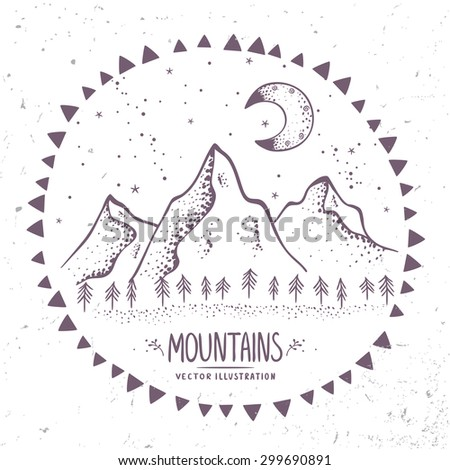 Beautiful contours mountains at night. Stylish vector illustration - stock vector
