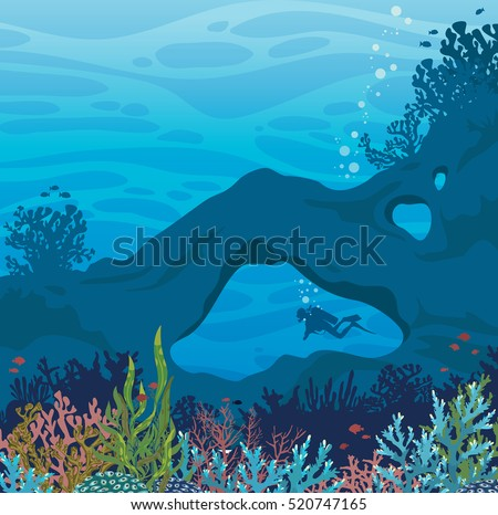 Beautiful coral reef with fish and silhouette of scuba diver at underwater cave on a blue sea background. Vector marine wildlife illustration. Tropical summer.