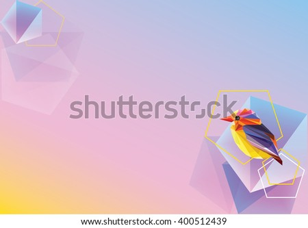 Beautiful creative colorful vibrant wallpaper, banner or background with decorative geometric bird and polygonal shapes - stock vector