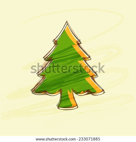 Beautiful creative X-mas tree on beige background for Merry Christmas and other occasion celebrations. - stock vector