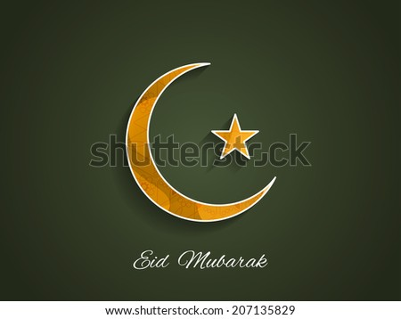 Beautiful crescent moon design on dark green color background for Muslim community festival Eid.