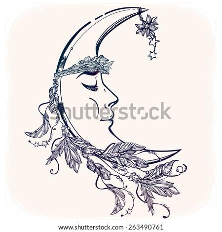 crescent moon face stock images royalty free images vectors shutterstock. Black Bedroom Furniture Sets. Home Design Ideas