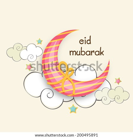 Beautiful crescent moon wrapped with yellow ribbon on stylish clouds decorated beige background for Muslim community festival Eid Mubarak celebrations.   - stock vector