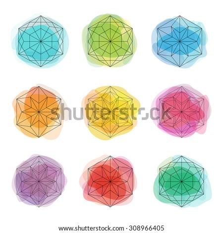 Beautiful crystal shapes. Black snowflakes on colorful spots backgrounds. Watercolor effect circles. Winter holidays design elements. - stock vector