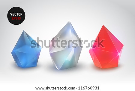 beautiful crystals (Vector set of a realistic gemstone) - stock vector