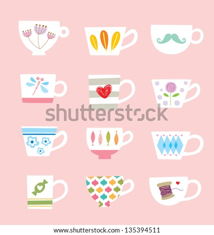 beautiful cup poster - stock vector
