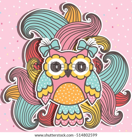 Beautiful, cute owl with swirls on a pink background