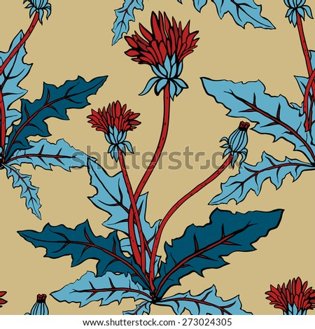 Beautiful dandelions with leaves pattern - vector illustration - stock vector