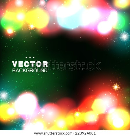 Beautiful dark background with night lights. Vector illustration