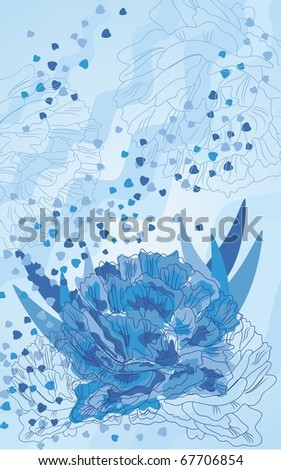 Beautiful dark blue peony on a blue background