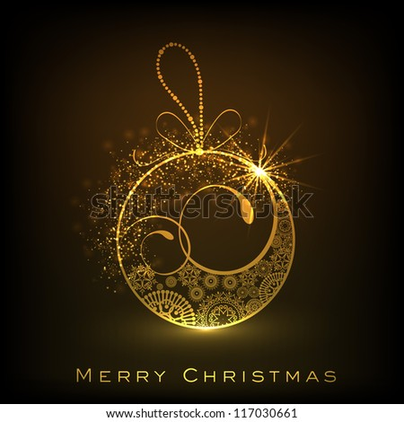 Beautiful decorated Xmas ball for Merry Christmas celebration. EPS 10. - stock vector