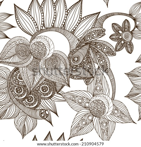 Beautiful decorative floral ornamental seamless pattern in doodle art style. Vector illustration