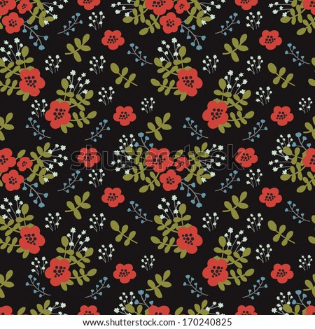 Beautiful decorative floral pattern. Seamless pattern for fabric, paper and other printing and web projects. - stock vector