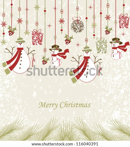 Beautiful design Christmas greeting card with xmas decoration - stock vector