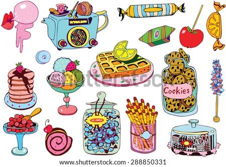 Beautiful Dessert Plates Collection - stock vector