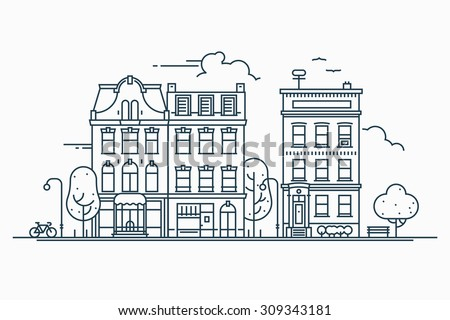 Beautiful detailed linear cityscape with various row townhouses, small town street with building facades thin line trendy illustration. Ideal for graphic, web and motion design - stock vector