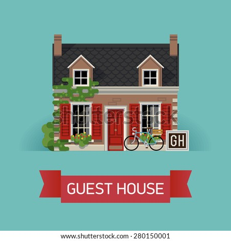 Beautiful detailed lodging and accommodation graphic element with cozy small guest house in classic design with ivy wall, window shutters and mansard - stock vector