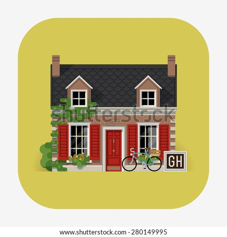 Beautiful detailed lodging and accommodation web icon with cozy small guest house in classic design with ivy wall, window shutters and mansard - stock vector