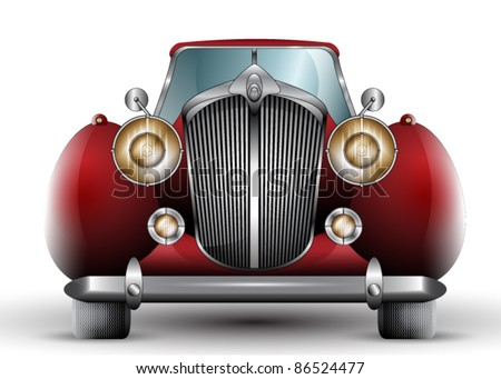 Beautiful Detailed Vintage Car Illustration - stock vector