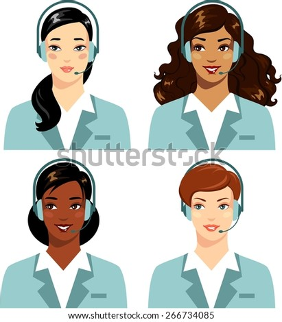 Beautiful different ethnic women operator of call center online customer support  - stock vector