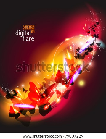 beautiful digital butterfly with flare design - stock vector