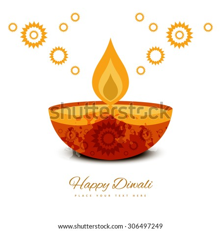 Beautiful diwali greeting card colorful background vector - stock vector