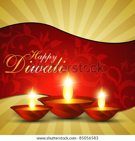 beautiful diwali hindu festival background - stock vector