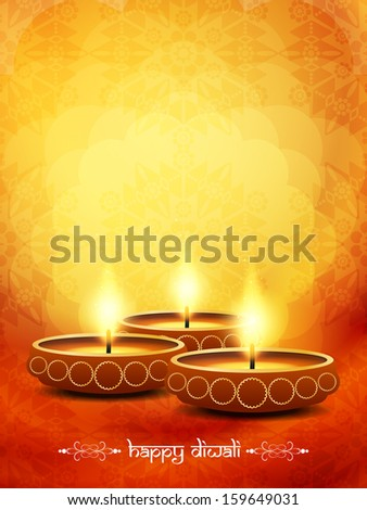 beautiful diwali lamps on elegant orange color floral background. vector illustration - stock vector