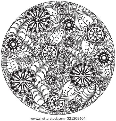 Beautiful doodle art flowers circle zentangle stock vector for Basic doodle designs