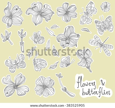 Beautiful Doodle flower set over white background for design, dogwood flowers, Vector - stock vector