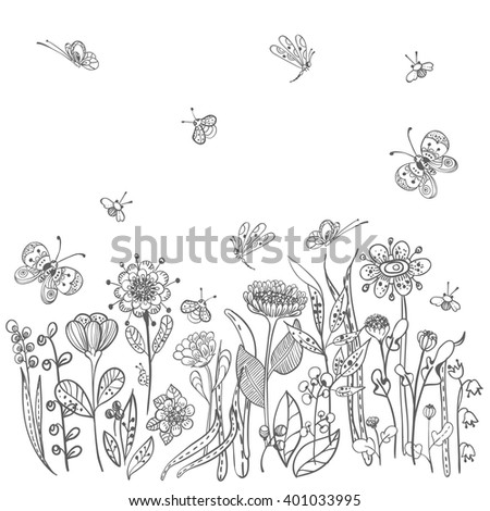 Beautiful doodle grass and flowers silhouette, natural collection, Vector - stock vector