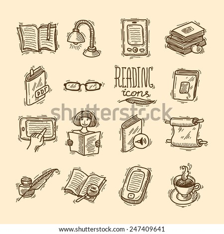 beautiful doodle hand drawn reeading icons for your design
