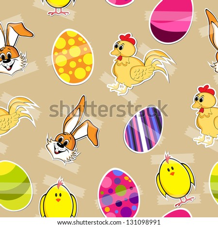 Beautiful Easter background with decorated eggs, bunny and little chicks..