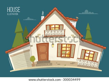 Beautiful eco ecology rural country house home. Color vector illustration. - stock vector