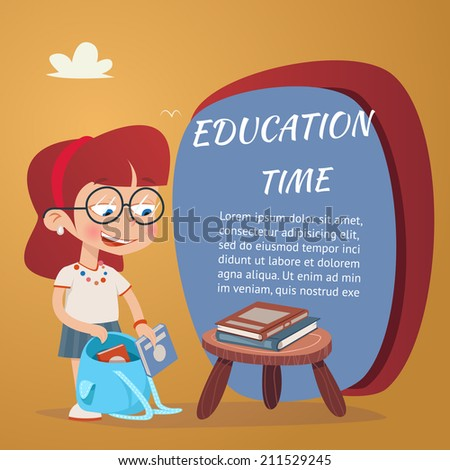 Beautiful Education Poster with Girl Adding Textbooks in School Bag  Isolated on Orange Bacground - stock vector