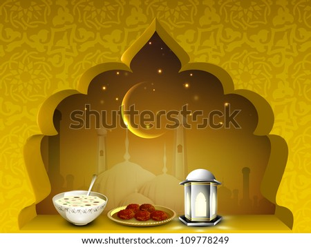 Beautiful EId Mubarak background with moon, sweets and lantern or lamp. EPS 10. - stock vector