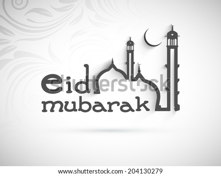 Beautiful Eid Mubarak greeting card design with stylish mosque design on floral decorated grey background. - stock vector