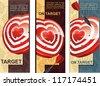 Beautiful Elegance heart target with dart - stock photo