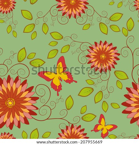 Beautiful elegant background, seamless pattern with red - orange flower chrysanthemum and butterfly in vintage style. Romantic stylish wallpaper. Vector illustration