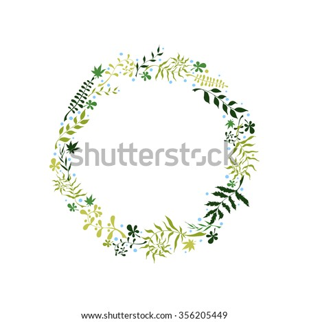 Beautiful elegant floral wreath round frame, hand-drawn doodle style, gothic, vintage. The symbol of spring, summer, nature.
