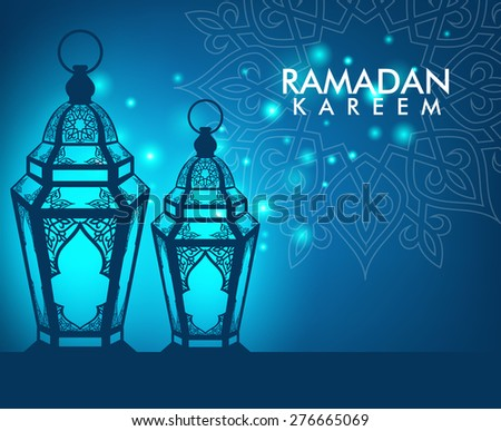 Beautiful Elegant Ramadan Kareem Lantern or Fanous With Pattern and Lights in Night Background for the Holy Month Occasion of fasting. Editable Vector Illustration - stock vector