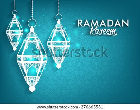 Beautiful Elegant Ramadan Kareem Lanterns or Fanous Hanging With Colorful Lights in Islamic Pattern Background for the Holy Month Occasion of fasting. Editable Vector Illustration - stock vector