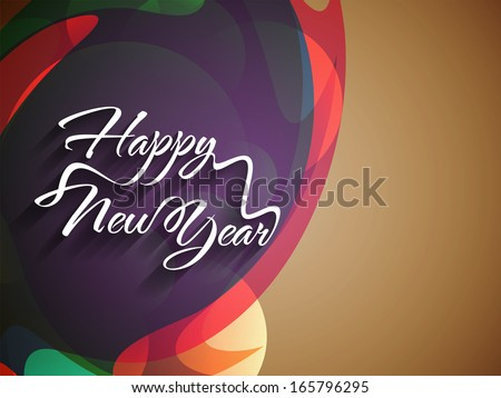 Beautiful elegant text design of happy new year on colorful background. vector illustration - stock vector