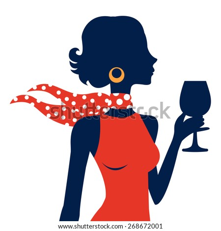 Beautiful elegant woman silhouette in vector format - stock vector