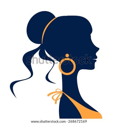 Beautiful  elegant woman silhouette in vector format - stock vector